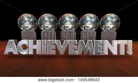 Achievement Awards Accomplishment Recognition 3d Illustration