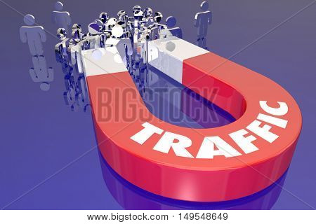 Traffic Magnet Attract Audience Viewers Customers 3d Illustration