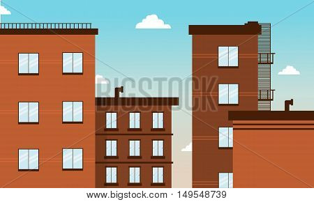 Cartoon building landscape vector art illustration collection