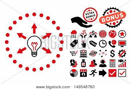 Idea Bulb pictograph with bonus clip art. Glyph illustration style is flat iconic bicolor symbols, intensive red and black colors, white background.