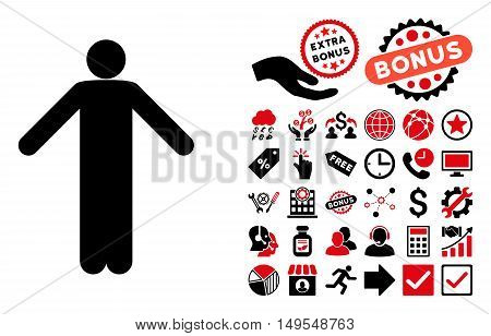 Ignorance Pose pictograph with bonus pictures. Glyph illustration style is flat iconic bicolor symbols, intensive red and black colors, white background.