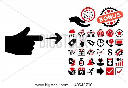 Index Hand pictograph with bonus images. Glyph illustration style is flat iconic bicolor symbols, intensive red and black colors, white background.