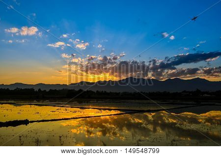 Sunset color yellow sky bluesky orange view ligth nature