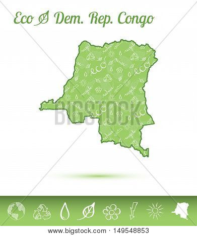 Congo, The Democratic Republic Of The Eco Map Filled With Green Pattern. Green Counrty Map With Ecol