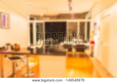 Abstract blur beautiful luxury dining room interior to be used for background