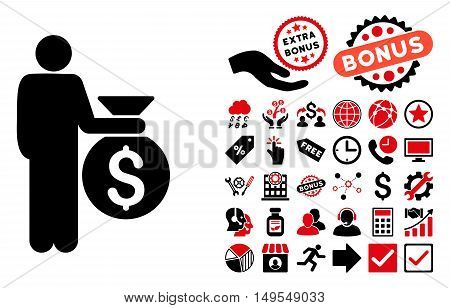 Investor pictograph with bonus elements. Glyph illustration style is flat iconic bicolor symbols, intensive red and black colors, white background.