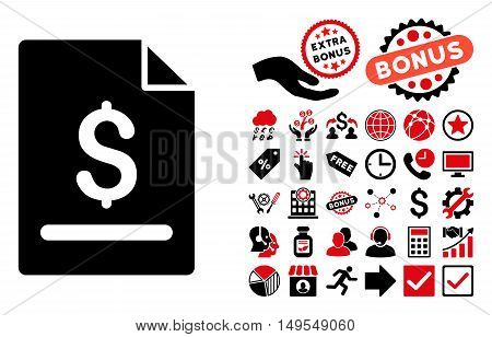 Invoice Page pictograph with bonus elements. Glyph illustration style is flat iconic bicolor symbols, intensive red and black colors, white background.
