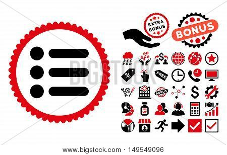 Items pictograph with bonus pictures. Glyph illustration style is flat iconic bicolor symbols, intensive red and black colors, white background.