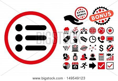 Items pictograph with bonus elements. Glyph illustration style is flat iconic bicolor symbols, intensive red and black colors, white background.