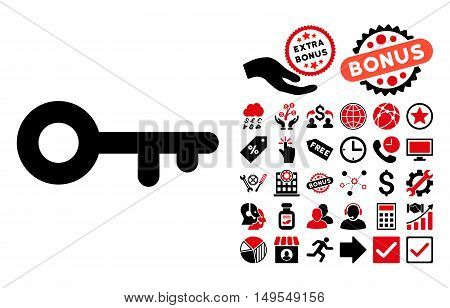 Key pictograph with bonus images. Glyph illustration style is flat iconic bicolor symbols, intensive red and black colors, white background.