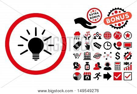 Light Bulb icon with bonus pictures. Glyph illustration style is flat iconic bicolor symbols, intensive red and black colors, white background.