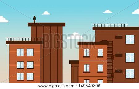 Building city in flat vector art illustration