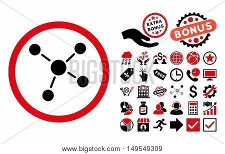 Links icon with bonus pictograph collection. Glyph illustration style is flat iconic bicolor symbols, intensive red and black colors, white background.