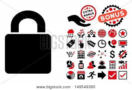 Lock icon with bonus pictogram. Glyph illustration style is flat iconic bicolor symbols, intensive red and black colors, white background.