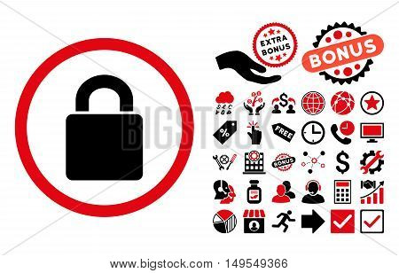Lock icon with bonus clip art. Glyph illustration style is flat iconic bicolor symbols, intensive red and black colors, white background.