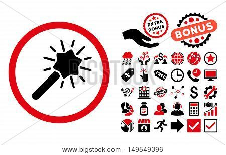 Magic Tool pictograph with bonus images. Glyph illustration style is flat iconic bicolor symbols, intensive red and black colors, white background.
