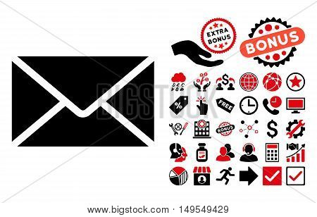 Mail Envelope pictograph with bonus icon set. Glyph illustration style is flat iconic bicolor symbols, intensive red and black colors, white background.