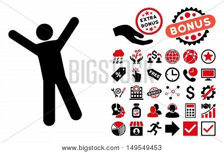 Man Joy icon with bonus clip art. Glyph illustration style is flat iconic bicolor symbols, intensive red and black colors, white background.