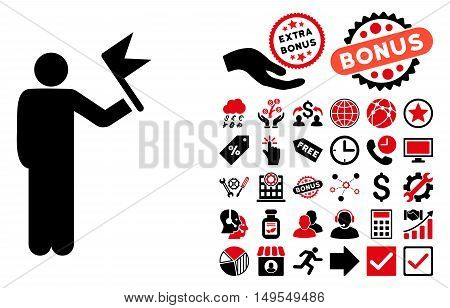 Man With Flag icon with bonus design elements. Glyph illustration style is flat iconic bicolor symbols, intensive red and black colors, white background.