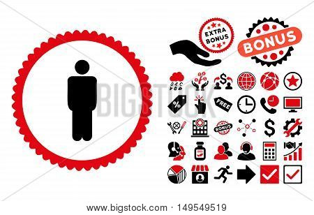 Man pictograph with bonus clip art. Glyph illustration style is flat iconic bicolor symbols, intensive red and black colors, white background.