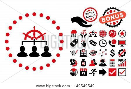 Management icon with bonus symbols. Glyph illustration style is flat iconic bicolor symbols, intensive red and black colors, white background.