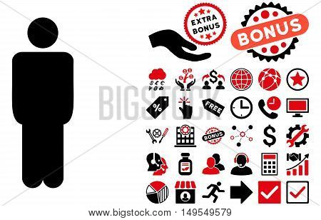 Man pictograph with bonus pictures. Glyph illustration style is flat iconic bicolor symbols, intensive red and black colors, white background.