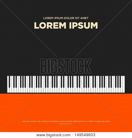 Piano retro vintage poster card book cover banner background flat design