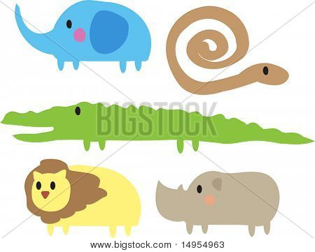 Cute cartoon jungle animals illustration of elephant, snake, crocodile, lion, rhino