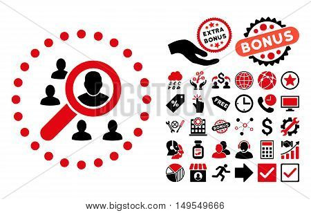 Marketing icon with bonus images. Glyph illustration style is flat iconic bicolor symbols, intensive red and black colors, white background.