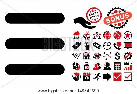 Menu Items icon with bonus pictograph collection. Glyph illustration style is flat iconic bicolor symbols, intensive red and black colors, white background.