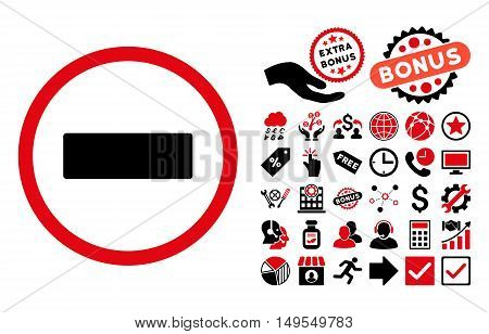 Minus icon with bonus pictograph collection. Glyph illustration style is flat iconic bicolor symbols, intensive red and black colors, white background.