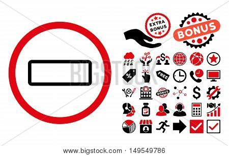 Minus pictograph with bonus images. Glyph illustration style is flat iconic bicolor symbols, intensive red and black colors, white background.