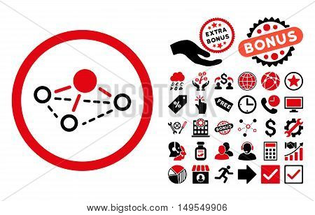 Molecule icon with bonus images. Glyph illustration style is flat iconic bicolor symbols, intensive red and black colors, white background.