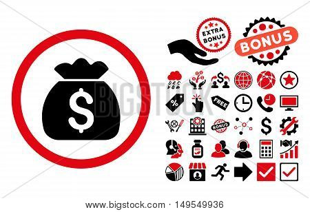 Money Bag pictograph with bonus design elements. Glyph illustration style is flat iconic bicolor symbols, intensive red and black colors, white background.