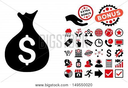 Money Sack pictograph with bonus images. Glyph illustration style is flat iconic bicolor symbols, intensive red and black colors, white background.