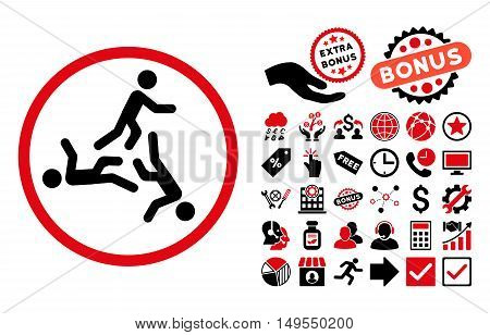 Moving Men icon with bonus pictogram. Glyph illustration style is flat iconic bicolor symbols, intensive red and black colors, white background.