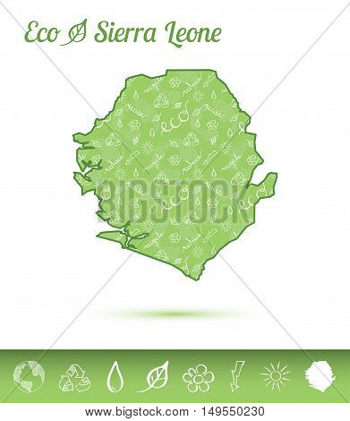 Sierra Leone Eco Map Filled With Green Pattern. Green Counrty Map With Ecology Concept Design Elemen