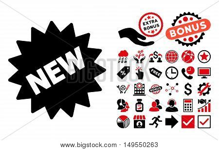 New Sticker icon with bonus images. Glyph illustration style is flat iconic bicolor symbols, intensive red and black colors, white background.