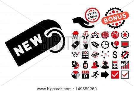 New Tag pictograph with bonus elements. Glyph illustration style is flat iconic bicolor symbols, intensive red and black colors, white background.