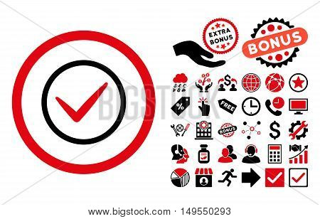 Ok icon with bonus pictures. Glyph illustration style is flat iconic bicolor symbols, intensive red and black colors, white background.