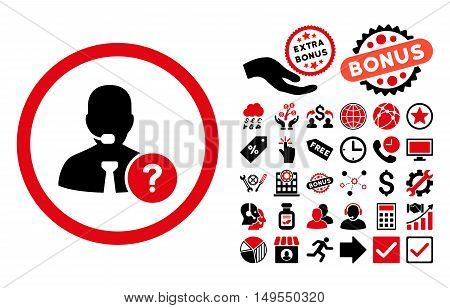 Online Support icon with bonus clip art. Glyph illustration style is flat iconic bicolor symbols, intensive red and black colors, white background.