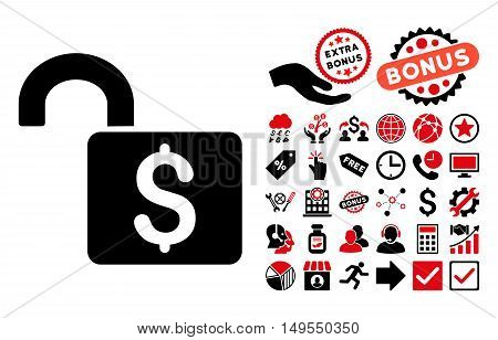 Open Banking Lock icon with bonus design elements. Glyph illustration style is flat iconic bicolor symbols, intensive red and black colors, white background.