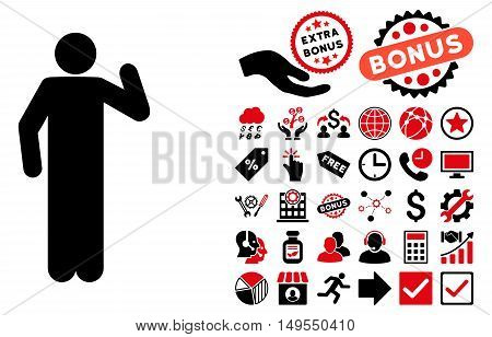 Opinion Pose icon with bonus pictograph collection. Glyph illustration style is flat iconic bicolor symbols, intensive red and black colors, white background.