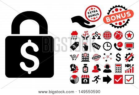 Pay Lock pictograph with bonus elements. Glyph illustration style is flat iconic bicolor symbols, intensive red and black colors, white background.