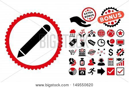 Pencil pictograph with bonus images. Glyph illustration style is flat iconic bicolor symbols, intensive red and black colors, white background.