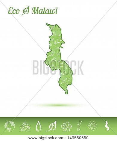 Malawi Eco Map Filled With Green Pattern. Green Counrty Map With Ecology Concept Design Elements. Ve