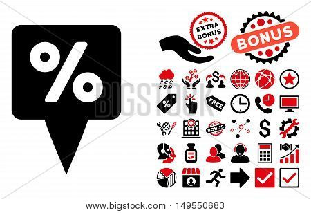 Percent Map Pointer icon with bonus pictogram. Glyph illustration style is flat iconic bicolor symbols, intensive red and black colors, white background.