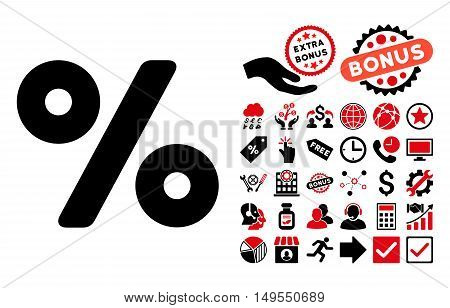 Percent icon with bonus pictogram. Glyph illustration style is flat iconic bicolor symbols, intensive red and black colors, white background.