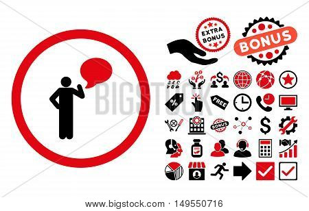 Person Idea pictograph with bonus pictures. Glyph illustration style is flat iconic bicolor symbols, intensive red and black colors, white background.