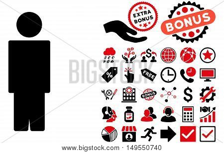 Person icon with bonus elements. Glyph illustration style is flat iconic bicolor symbols, intensive red and black colors, white background.